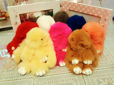 Lovely Rabbit Fur Ball PomPom Cell Phone Car Keychain Pendant bag Charm Key Ring