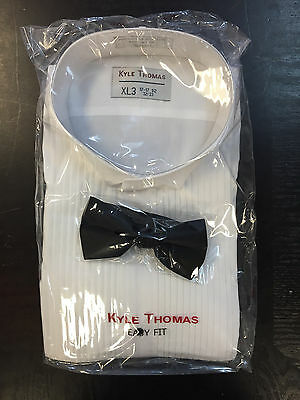 "NEW White wing collar tuxedo shirt 1/4"" pleats and FREE black bow tie"