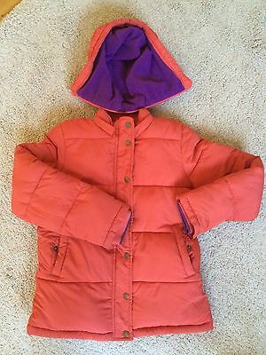 Mini Boden padded jacket. orange-red with purple fleece lining, hood.age 11-12