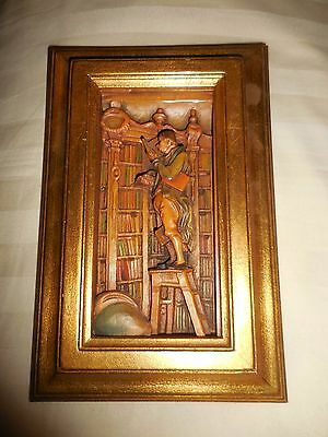 CARL SPITZWEG ANRI WOOD CARVED PICTURE THE BOOKWORM  5 x 7.5  RELIEF FABULOUS
