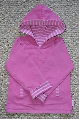 JoJo Maman Bebe Girls Pink Striped Reversible Hooded Sweatshirt 4-5 Years VGC