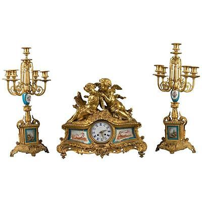 French 19th Century Gilt Bronze and Painted Porcelain Three-Piece Garniture Set