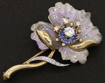 CDL heavy 14K 2-tone gold beautiful .75CT diamond & Blue sapphire flower brooch