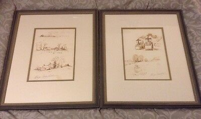 Pair Of Vintage Alwyn Crawshaw Framed Glazed Double Mounted Ink Drawings