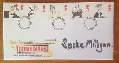 First Day Cover hand signed by Spike Milligan