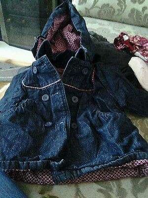 Girls navy blue vertbaudet coat with hood size 2 years