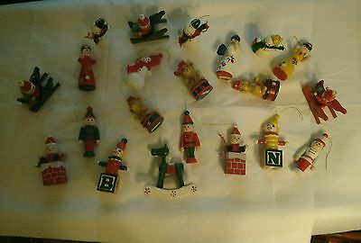 Lot of 21 Vintage  Miniature Wooden Christmas Ornaments Hand Painted