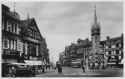 RP POSTCARD THE CLOCK TOWER LEICESTER 1930's BUS & TRAMS