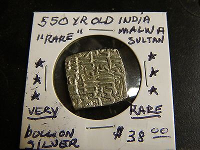 """INDIAN COIN MALWA SULTANATE """"2200+ YEARs OLD """"RARE COIN"""" AU+  """"NICE"""" SILVER !!"""