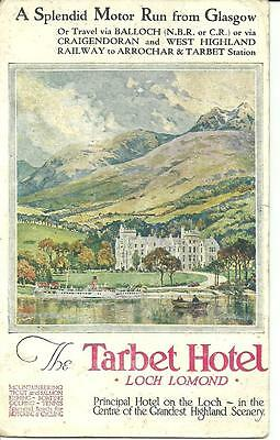 ADVERT POSTCARD for NORTH BRITISH & CALEDONIAN RAILWAY TARBET HOTEL STEAMER