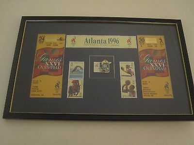 Atalanta Centennial Olympic Games 1996 - Framed Montage Of Tickets & Stamps
