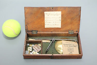 Antique Brass Apothecary Scale in Original Mahogany Box with Weights