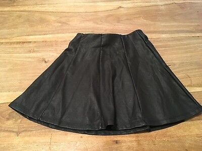 Girls age 5-6 River Island black leather look skirt