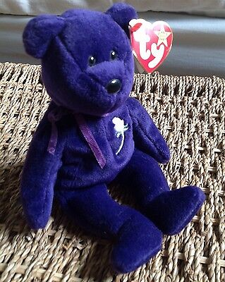 Ty Princess Diana Beanie Bear 1997 Handmade In Indonesia Tag With Spaces