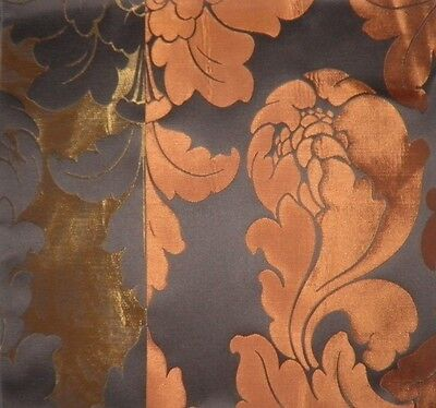 JAB Capriano Damask Brown Rust Gold Cotton Silk New Remnant