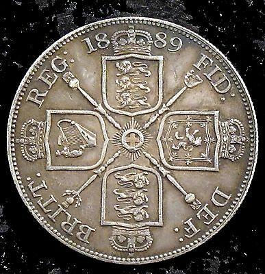 1889 Extremely Fine (XF) Great Britain Silver Double Florin - uk39