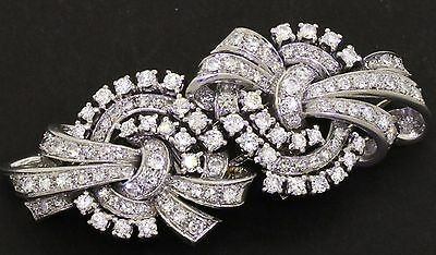Heavy Platinum elegant 7.0CT VS2-SI1/G-H diamond ribbon double fur clip brooch