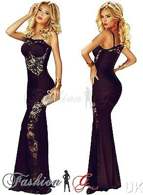 Womens Evening Dress Maxi Ball Gown Prom Party Formal Long Black Lace Size 12 14