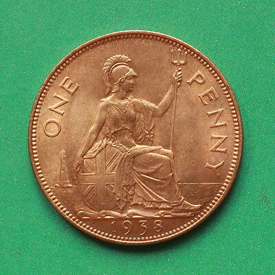 1938 George VI UNC Uncirculated Penny Good lustre cover SNo43162
