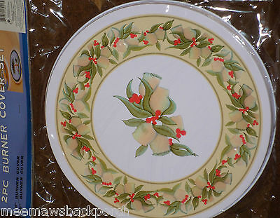 Christmas Holly Bell Flower Berry ROUND Electric STOVE Eye Cook TOP BURNER COVER
