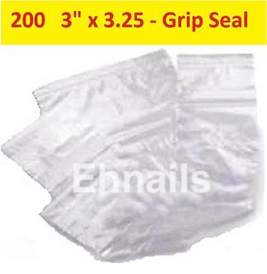 Grip Seal Bags - 200 3 x 3.25 Small Clear Plastic Self Seal Resealable FA65
