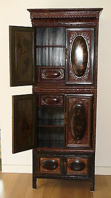 Antique Chinese Carved Painted Large Cabinet (3 pieces) with drawers