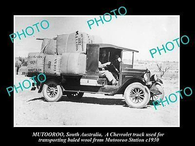 Old Large Historic Photo Of Mutooroo Sa Truck Loaded With Wool From Station 1930