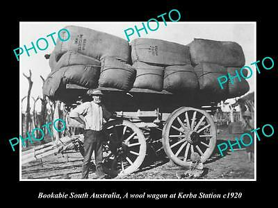OLD LARGE HISTORIC PHOTO OF BOOKABIE SA, WOOL WAGON FROM KERBA STATION c1920