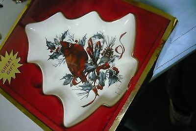 Vintage Lenox China Christmas Gift Tree Candy Dish winter Greeting