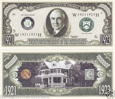 Warren G. Harding 29th US President Novelty Bill # P29