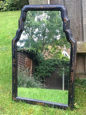 Queen Anne Chinese Lacquered Wall Mirror Circa 1710? 18th Century Toilet Vanity.