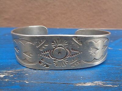 Vintage Navajo Coin Silver Bracelet Hand Wrought 25 Grams