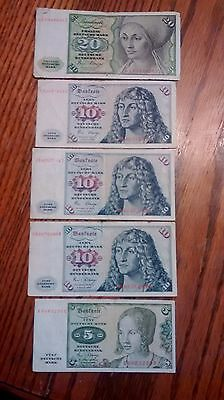 Lot of 5 German 20,10 (3) & 5 Deutsche Marks Currency Notes