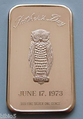 Rare Silver Art Bar .999 Fine Silver 1 Troy Ounce - Father's Day