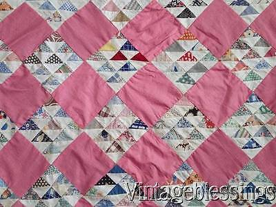 """Wonderful! Vintage 20-40s TINY Triangles QUILT TOP 82"""" x 64"""""""