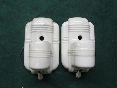 Pair of Paulding Porcelain Art Deco Wall Sconces With Outlets
