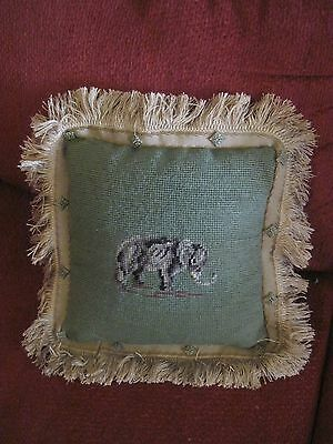 Finished Needlepoint Baby Elephant  Deco Pillow Green & Black On Wool Newly Made