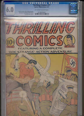 THRILLING COMICS 17 CGC 6.0 (RARE early WWII cover! 3rd Highest! NEVER offered!)