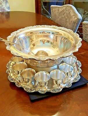 Ornate Towle Silver Plated Punch Bowl, Tray 12 cups and Ladle