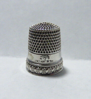 Antique Simons Sterling Silver Ovals Band Thimble Sz 7 Pat. Date 1898