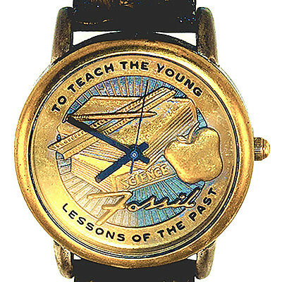 Teacher's Watch 'To Teach The Young' Fossil Raised Brass Tone Dial And Case $115