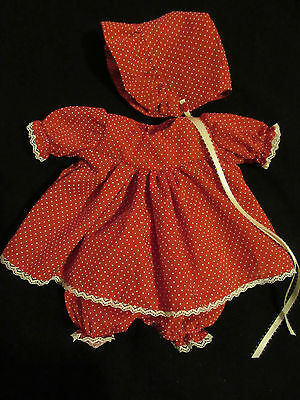 """3 Piece Dotted Swiss Dress Set For 12"""" Vintage Vogue Baby Dear Doll"""
