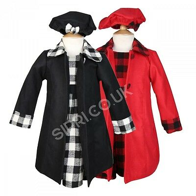 3PC Girls Winter Coat Dress and Hat, Girls Black and Red Formal Coats Dress Set