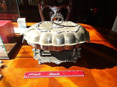 ANTIQUE CSC CROWN Silverplate Footed Oil Heater Lid Covered Serving Tray Dish,
