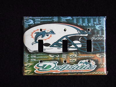 Vintage Miami Dolphins Triple Switchplate Cover Light Switch
