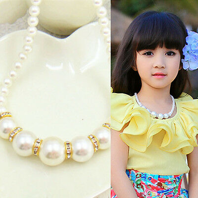 Lovely Fashion Girls Children Princess Imitation Pearl Necklace Jewelry Gift Hot