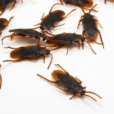 36x Realistic Rubber Fake Cockroaches Large Creepy Cock Roach Bugs Prank Gag US