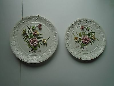 CAPODIMONTE Set of 2 Matching Artist Signed Wall Plates-ITALIAN