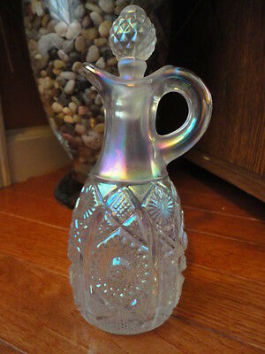 Imperial Carnival Glass Cruet Pearl White Iridescent Hobstar 7 in T Vintage