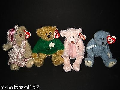 Lot of 4 Ty Attic Treasures Collectibles Darlene, Blarney, Scarlet, Bluebeary